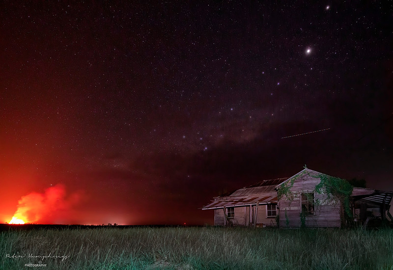 Cane Fire Burns In The North Coasts Night Sky.