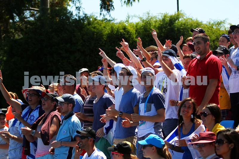 13-1-14. Australian Open. Round 1. Day 1. Dudi Sela (ISR) lost to Jarkko Niemimen (FIN) 6-3 6-7 7-6 6-3 6-3. Sela supporters in the crowd. Photo: Peter Haskin