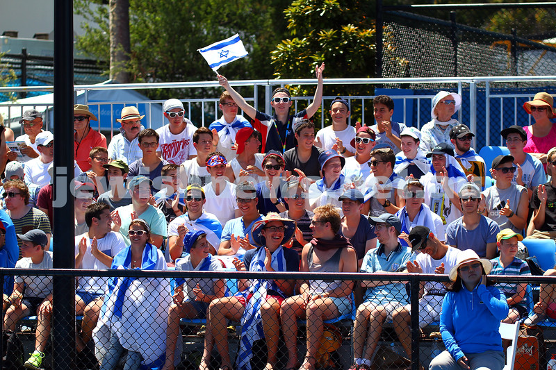 13-1-14. Australian Open. Round 1. Day 1. Dudi Sela (ISR) lost to Jarkko Niemimen (FIN) 6-3 6-7 7-6 6-3 6-3. Sela supporters in the crowd. Photo: Peter Haskin