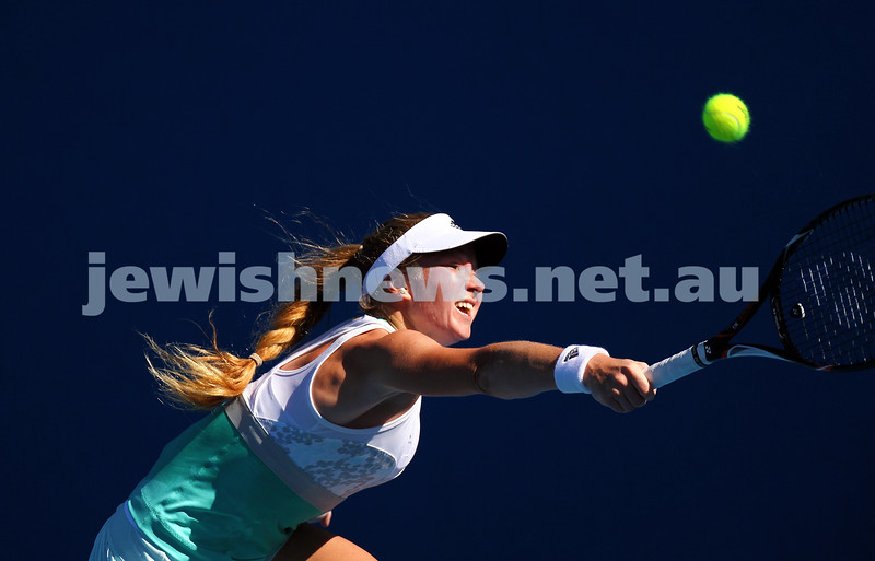 13-1-14. Australian Open.Womens Singles Round 1. Day 1. Julia Glushko (ISR) lost to Lucie Safarova (CZE) 5-7 6-3 1-6.  Photo: Peter Haskin