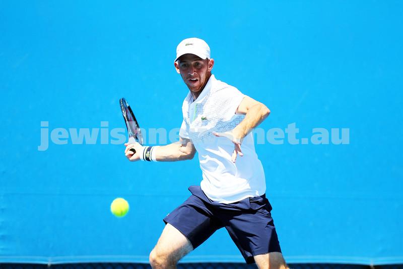 13-1-14. Australian Open. Round 1. Day 1. Dudi Sela (ISR) lost to Jarkko Niemimen (FIN) 6-3 6-7 7-6 6-3 6-3. Photo: Peter Haskin