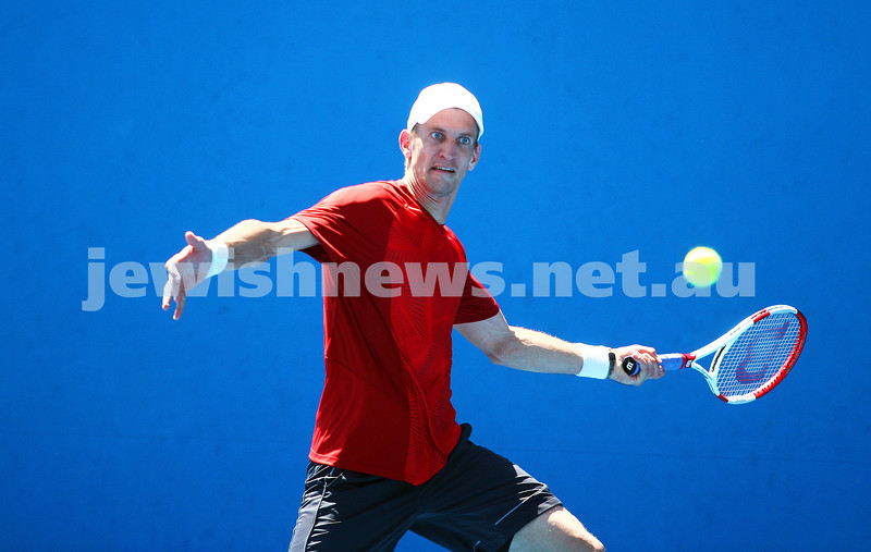 13-1-14. Australian Open. Round 1. Day 1. Dudi Sela (ISR) lost to Jarkko Niemimen (FIN) 6-3 6-7 7-6 6-3 6-3. Photo: Peter Haskin