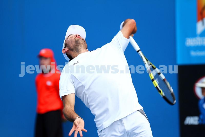 14-1-14. Australian Open 2014. Mens Singles Round 1. Wayne Odesnik (USA) lost to Vincent Millot (FRA) 7-5 4-6 6-7(4) 6-1 6-3 . Photo: Peter Haskin