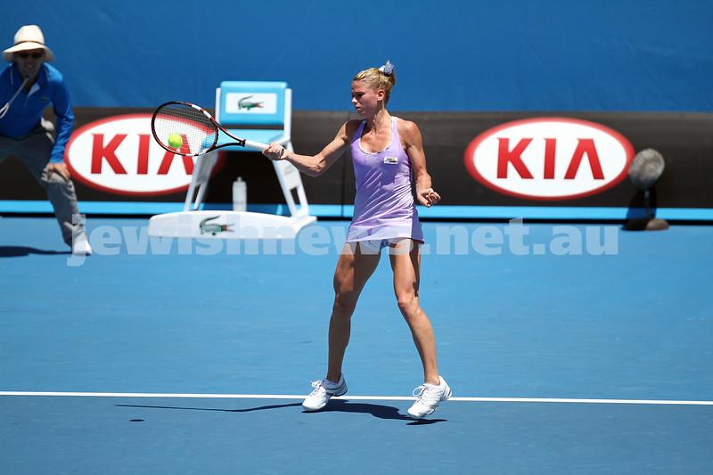 14-1-14. Australian Open. Day 2 Round 1 womens singles. Camila Giorgi (ITA) def Storm Sanders (AUS) 4-6 6-1 6-4. Photo: Peter Haskin