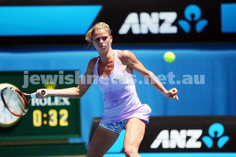 14-1-14. Australian Open. Day 2. Round 1 womens singles. Camila Giorgi (ITA) def Storm Sanders (AUS) 4-6 6-1 6-4. Photo: Peter Haskin