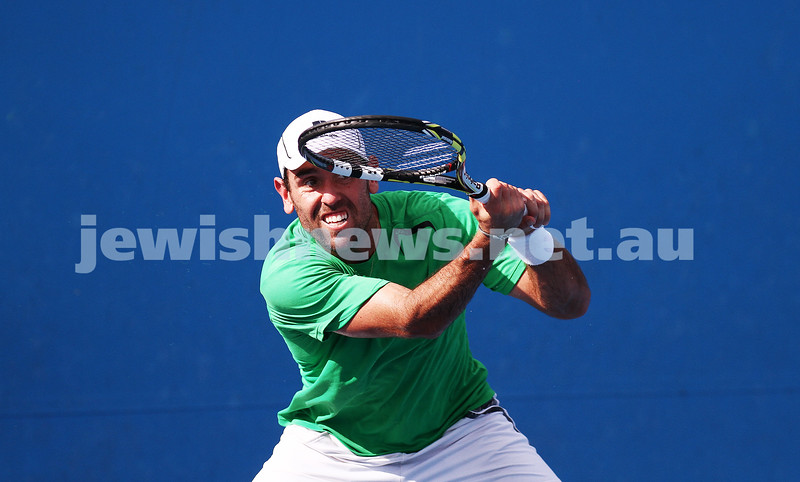 14-1-14. Australian Open 2014. Mens Singles Round 1. Wayne Odesnik (USA) lost to Vincent Millot (FRA) 7-5 4-6 6-7(4) 6-1 6-3 . Photo: Peter Haskin