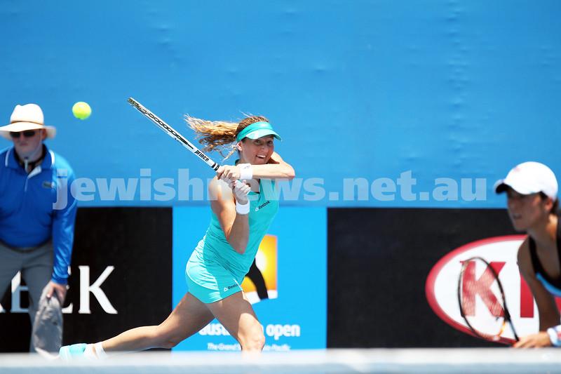 17-1-14. Womens doubles. Round 2. Shahar Peer (ISR)/Silvia Soler-Espinosa (ESP) def Su-Wei Hsieh (TPE) [2]/Shuai Peng (CHN) [2] 7-5 3-6 6-4. Photo: Peter Haskin