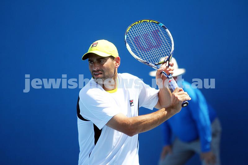 17-1-14. Australian Open 2014. Mens Doubles. Round 1. Jonathan Erlich/Andy Ram lost to Daniele Bracciali (ITA)/Alexandr Dolgopolov (UKR) 6-7 6-4 3-6. Photo: Peter Haskin