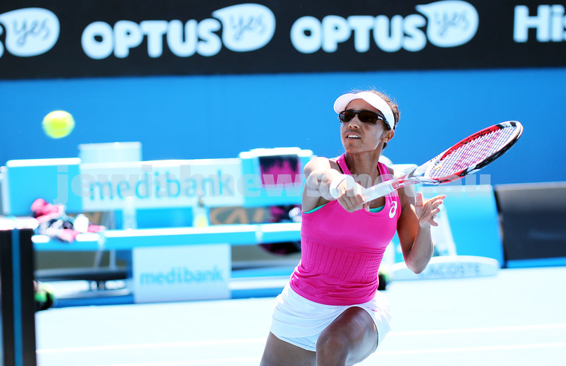 21-1-14. Australian Open 2014. Womens doubles. Qtr final. Shahar Peer (ISR) / Silvia Soler-Espinosa (ESP) lost to Raquel Kops-Jones (USA) [8] / Abigail Spears (USA) [8]4-6 7-6 6-2. Photos: Peter Haskin