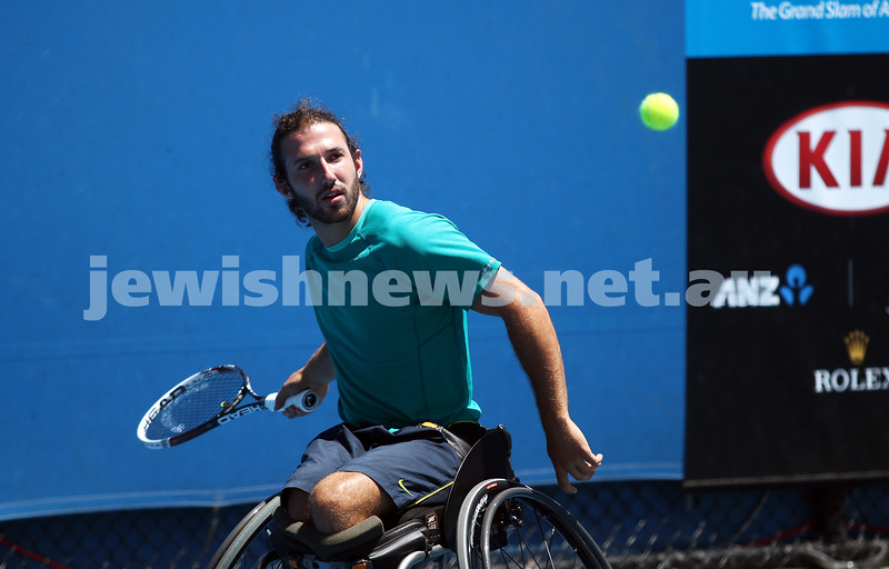 22-1-14. Australian Open 2014. Mens Wheel chair. Adam Kellerman from Sydney in action during his quarter final loss to Maikel Scheffers (NED) 5-7 5-7. Photo: Peter Haskin