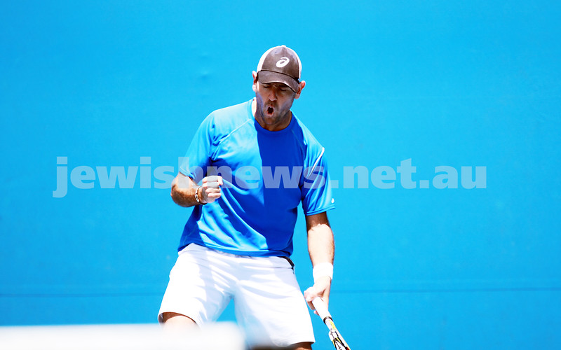 8-1-14. Australian Open Qualifying round 1. Wayne Odesnik (USA) def Thomas Fabbiano (ITA). 7-5 7-6. Photo: Peter Haskin