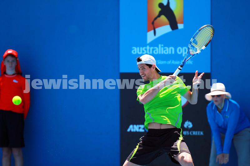 8-1-14. Australian Open Qualifying round 1. Amir Weintraub (ISR) lost to Pierre Hugues-Herbert (FRA) 7-6 4-6 6-8. Photo: Peter Haskin
