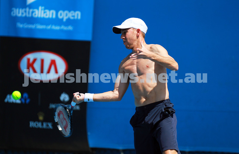 8-1-14. Australian Open.Dudi Sela on practice courts.  Photo: Peter Haskin