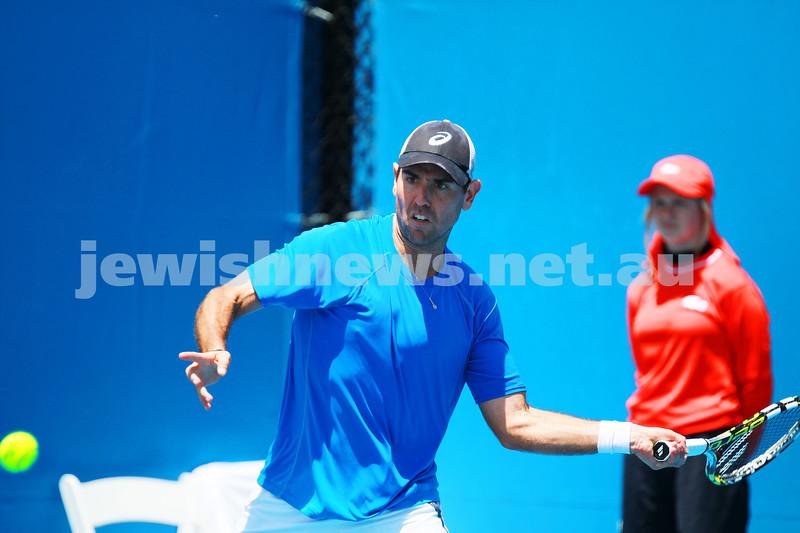 8-1-14. Australian Open Qualifying round 1. Wayne Odesnik (USA) def Thomas Fabbiano (ITA). 7-5 7-6. Photo: Peter Haskin