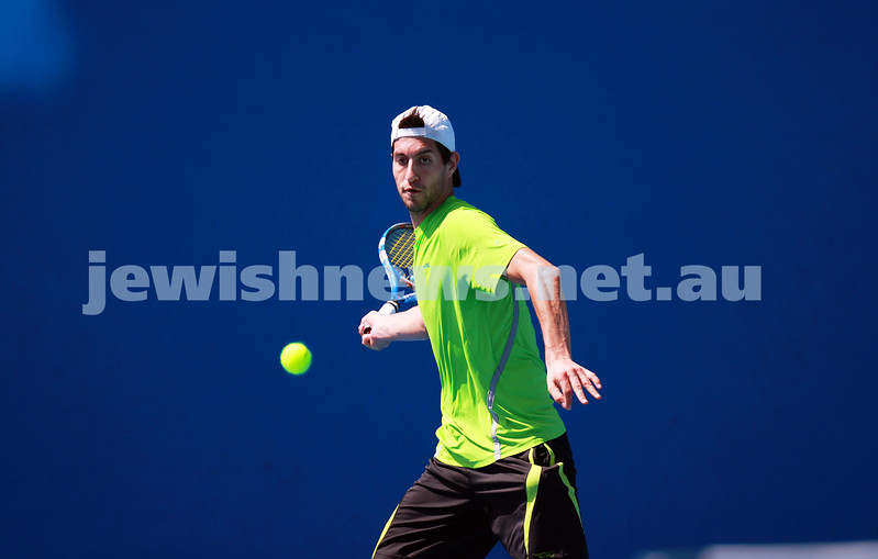 8-1-14. Australian Open Qualifying round 1. Amir Weintraub (ISR) lost to Pierre Hugues-Herbert (FRA) 7-6 4-6 6-8. Photo: Peter Haskin