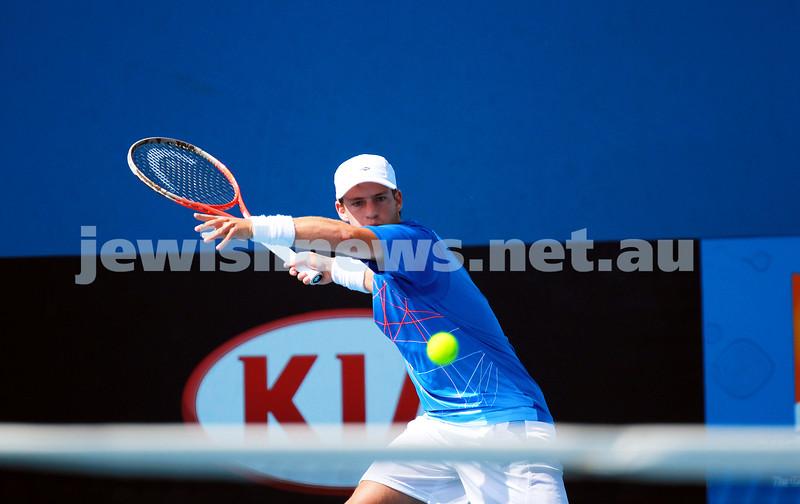 8-1-14. Australian Open Qualifying round 1. Diego Sebastian Schwartzman (ARG) lost to Ze Zhang (CHI) 7-6 4-6 6-8. Photo: Peter Haskin