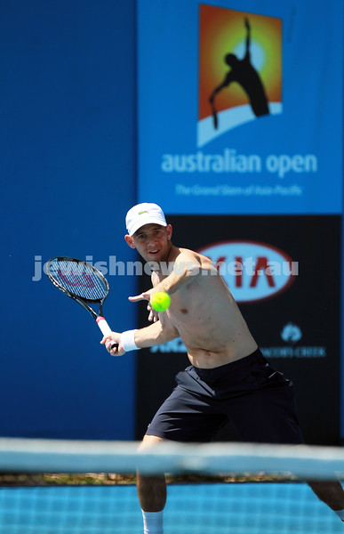 8-1-14. Australian Open.Dudi Sela on practice courts.  Photo: Peter Haskin