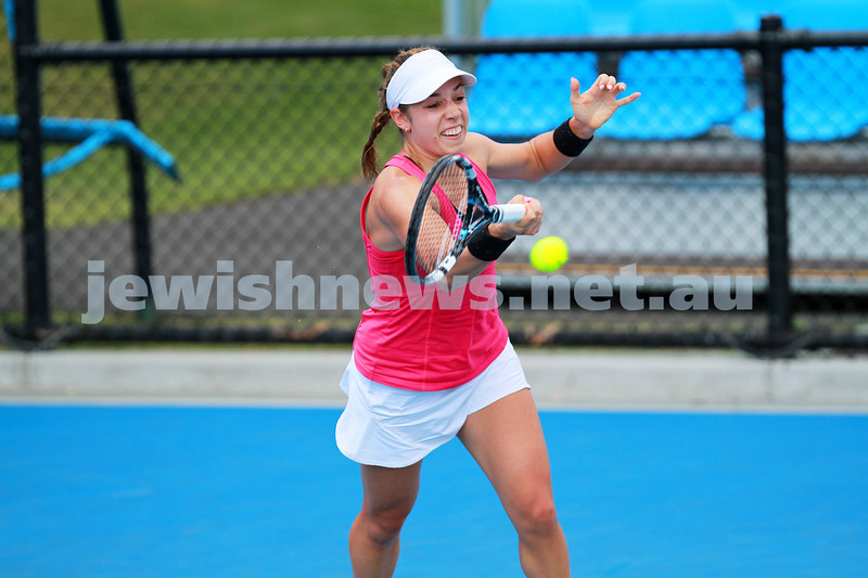 9-1-14. Australian Open Qualifying round 1, day 2. Sharon Fichman (CAN) lost to Belinda Bencic (SUI) 3-6 1-6. Photo: Peter Haskin