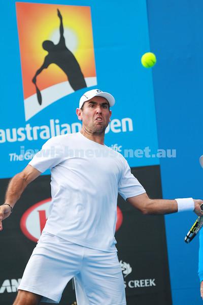 9-1-14. Australian Open Qualifying round 2, day 2. Wayne Odesnik (USA) def Marsel Ilhan (TUR) 6-1 7-6. Photo: Peter Haskin