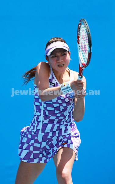 9-1-14. Australian Open Qualifying round 1, day 2. Julia Cohen (USA) lost to Yurika Sema (JPN) 6-7 3-6. Photo: Peter Haskin