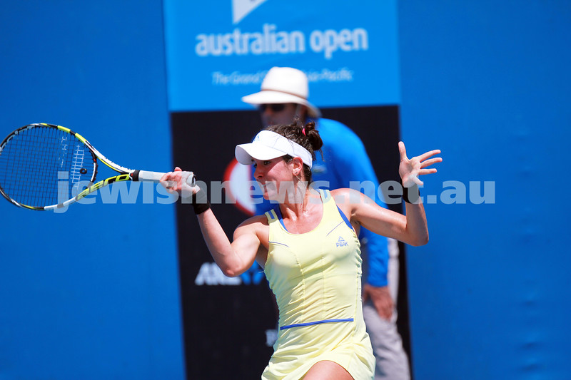 9-1-14. Australian Open Qualifying round 1, day 2. Julia Cohen (USA) lost to Yurika Sema (JPN) 6-7 3-6. Photo: Peter Haskin