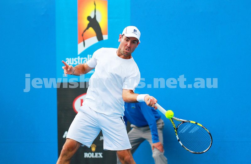 9-1-14. Australian Open Qualifying round 2, day 2. Wayne Odesnik (USA) def Marsel Ilhan (TUR) 6-1 7-6. Photo: Peter Haskin