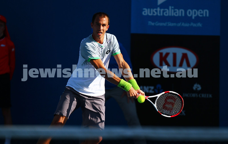 21-1-15. Australian Open 2015. Men's Round 2. Dudi Sela def Lukas Rosol (28) 7-6 5-7 7-5 6-3. Photo: Peter Haskin