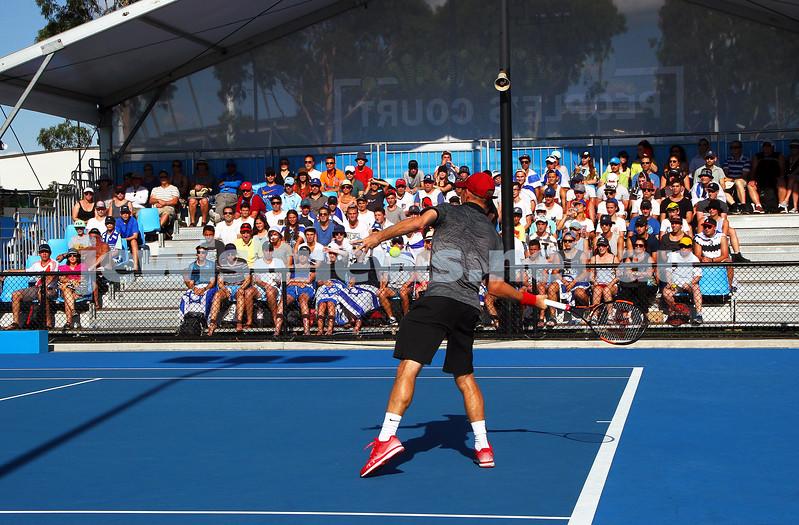 21-1-15. Australian Open 2015. Men's Round 2. Dudi Sela def Lukas Rosol (28) 7-6 5-7 7-5 6-3. Photo: Peter Haskin