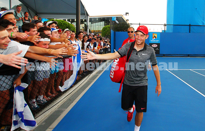 21-1-15. Australian Open. Men's Round 2. Dudi Sela def Lukas Rosol (28) 7-6 5-7 7-5 6-3. Photo: Peter Haskin