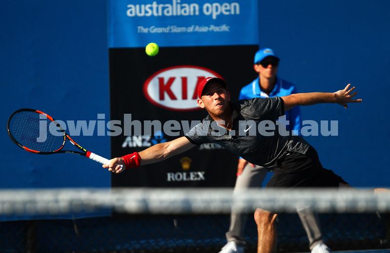 21-1-15. Australian Open. Men's Round 2. Dudi Sela def Lukas Rosol (28) 7-6 5-7 7-5 6-3. Photo: Peter Haskin