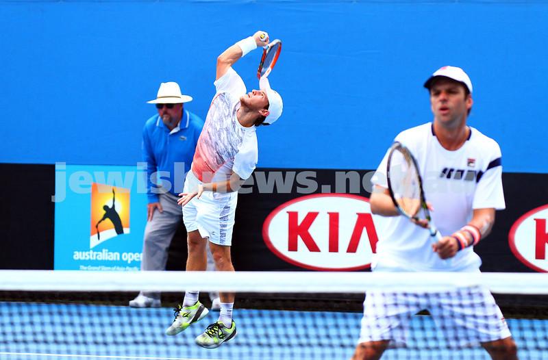 22-1-15. Australian Open 2015. Men's Doubles Round 1.Diego Schwartzman (ARG) Horacio Zeballos (ARG) defeats Mahesh Bhupathi (IND) Jurgen Melzer (AUT) 6-4 6-3. Photo: Peter Haskin