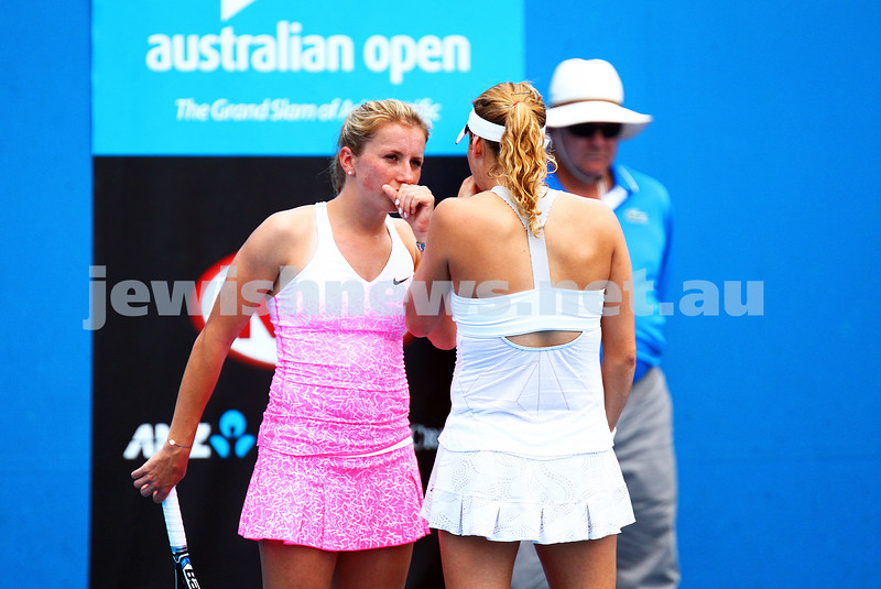 22-1-15. Australian Open 2015. Women's Doubles Round 1. Alexandra Panova (RUS) Heather Watson (GBR) defeats Annika Beck (GER)<br /> Shahar Peer (ISR) 2-6 7-5 3-1 RET. Photo: Peter Haskin