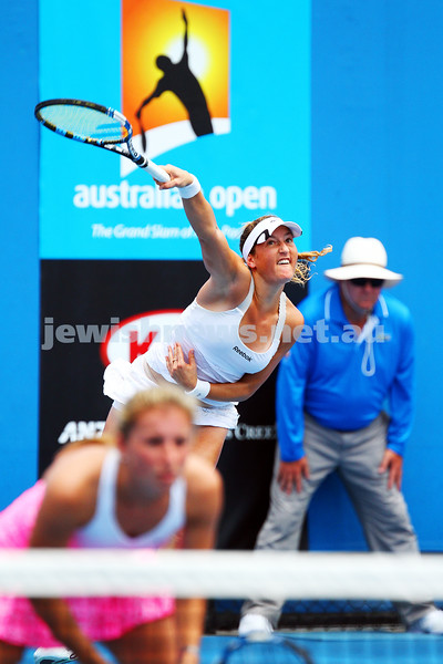 22-1-15. Australian Open 2015. Women's Doubles Round 1. Alexandra Panova (RUS) Heather Watson (GBR) defeats Annika Beck (GER)<br /> Shahar Peer (ISR) 2-6 7-5 3-1 RET. Photo: Peter Haskin