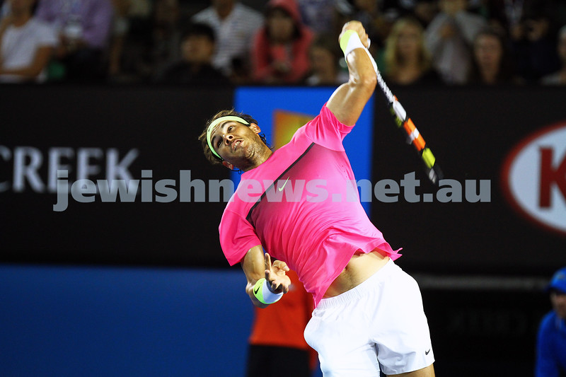 23-1-15. Australian Open 2015. Men's Round 3. Rod laver Arena.  Dudi Sela lost to Rafael Nadal (3) 1-6 0-6 5-7. Photo: Peter Haskin