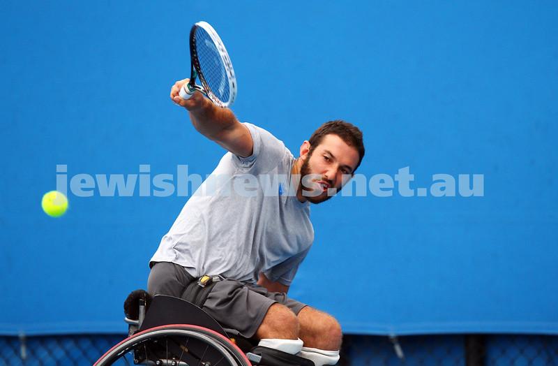 26-1-15. Australian Open 2015. Men's wheelchair final qualifying. Adam Kellerman def Ben Weekes 6-4-6-1. Photo: Peter Haskin