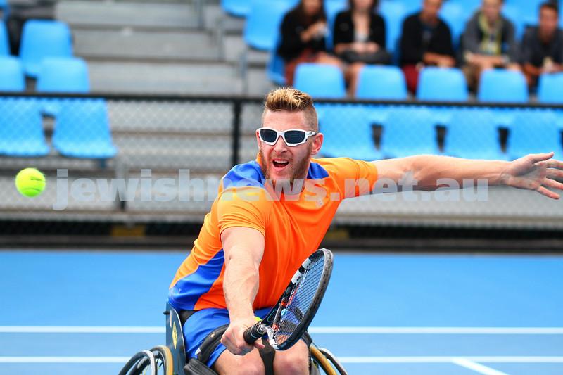 26-1-15. Australian Open 2015. Men's wheelchair final qualifying. Adam Kellerman def Ben Weekes 6-4-6-1. Ben Weekes. Photo: Peter Haskin