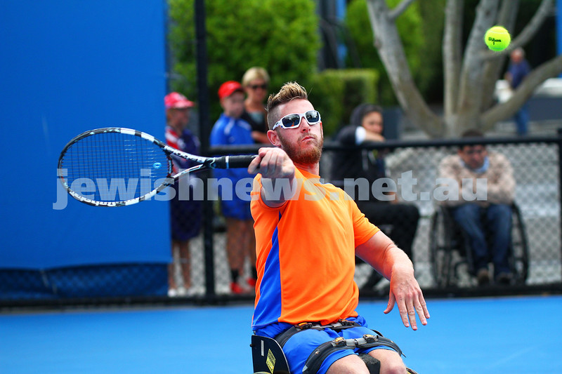 26-1-15. Australian Open 2015. Men's wheelchair final qualifying. Adam Kellerman def Ben Weekes 6-4-6-1. Weekes playing a forehand. Photo: Peter Haskin