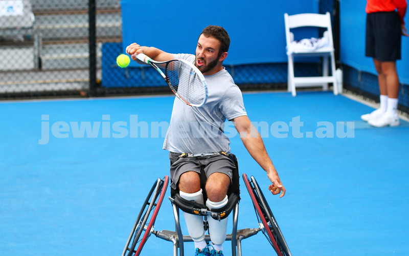 26-1-15. Australian Open 2015. Men's wheelchair final qualifying. Adam Kellerman def Ben Weekes 6-4-6-1. Photo: Peter Haskin