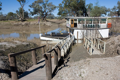 PV Jandra on the Darling River at Bourke, New South Wales - Jandra is a replica paddle vessel.  The mud in the foreground was left by the recent floods.  The river is always a muddy colour.  01 May 2010
