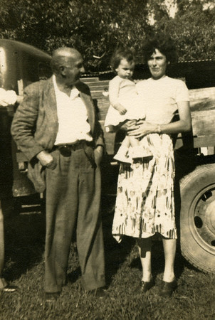 Sixty years ago ......... another photo of Moira Bray in a bygone era at Kynnumboon, Murwillumbah, Tweed Valley, New South Wales.  This one was taken in 1952.  Mum is holding a small child, me, and looking on, is my grandfather, Frank Bray.   Photographers name unknown (probably Dad).