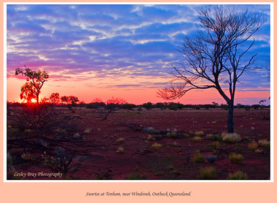 Next morning the sunrise was brilliant at our camping spot at Tenham along the Diamantina Developmental Road near Windorah in outback Queensland, Australia.  Photographed August 2010 - © 2010 Lesley Bray Photography