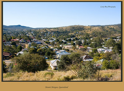 View of the town of Mount Morgan from one of the lookouts.  Mount Morgan is on the Burnett Highway, Queensland, Australia.  Photographed August 2010 - © Lesley Bray Photography