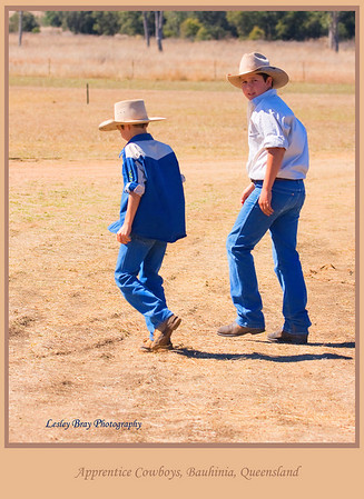 Pair of apprentice cowboys seen at the Working Cattle Dog Championships held at Bauhinia on the Dawson Highway, Queensland, Australia.  Photographed August 2010 - © Lesley Bray Photography