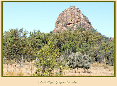 We saw this interesting volcanic plug on the Dawson Highway as we neared Springsure, Queensland, Australia.  Photographed August 2010 - © Lesley Bray Photography