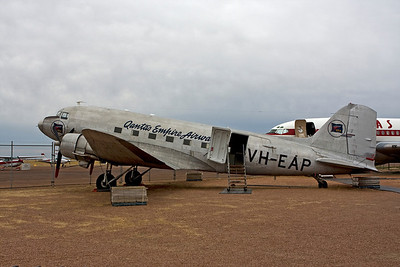Qantas Empire Airways DC-3 aircraft is resplendent in it's original livery at the Qantas Founders Museum in Longreach.  The polished metal finish of the 1948 livery is from the days when the aircraft was operated by Qantas as VH-EAP.   15 May 2010