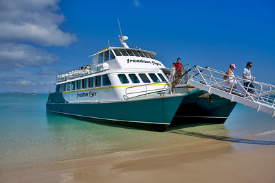 The water is always clear at Great Keppel - this is our boat the Freedom Flyer's arrival at the island.  September 2008