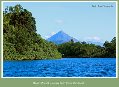 Walsh's Pyramid, Bundadjarruga, as seen from the Mulgrave River at Deeral, Queensland, Australia.   Photographed July 2010 - © Lesley Bray Photography