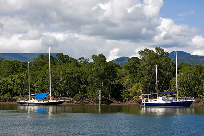 We have arrived in beautiful Cairns.  These boats were moored opposite the boat ramp at Trinity Inlet.  08 June 2010