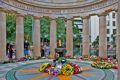 Friday 25 April 2008 - Today is ANZAC day - this is the Eternal Flame in the Shrine of Remembrance War Memorial in Brisbane Anzac Square. My dad fought in the Battle of Tarakan at Borneo in WWII, my paternal grandfather served in France in WWI (and WWII), and his brother lies in the Netley Military Cemetery in the UK. The fence hasn't always been there - the council was forced to erect it to deter the homeless from roasting pigeons in the flames - lots of available pigeons around the city parks.