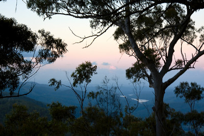 Looking down into the valley in the moments after sunset